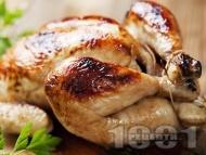 Пълнено печено пиле с ориз и подправки